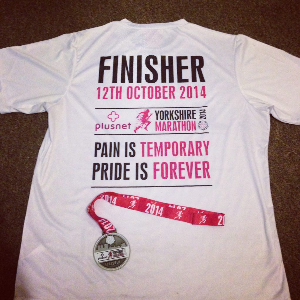 2014 Yorkshire Marathon finisher - Pain in temporary, pride is forever