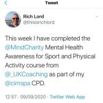 Mental Health Awareness course completed